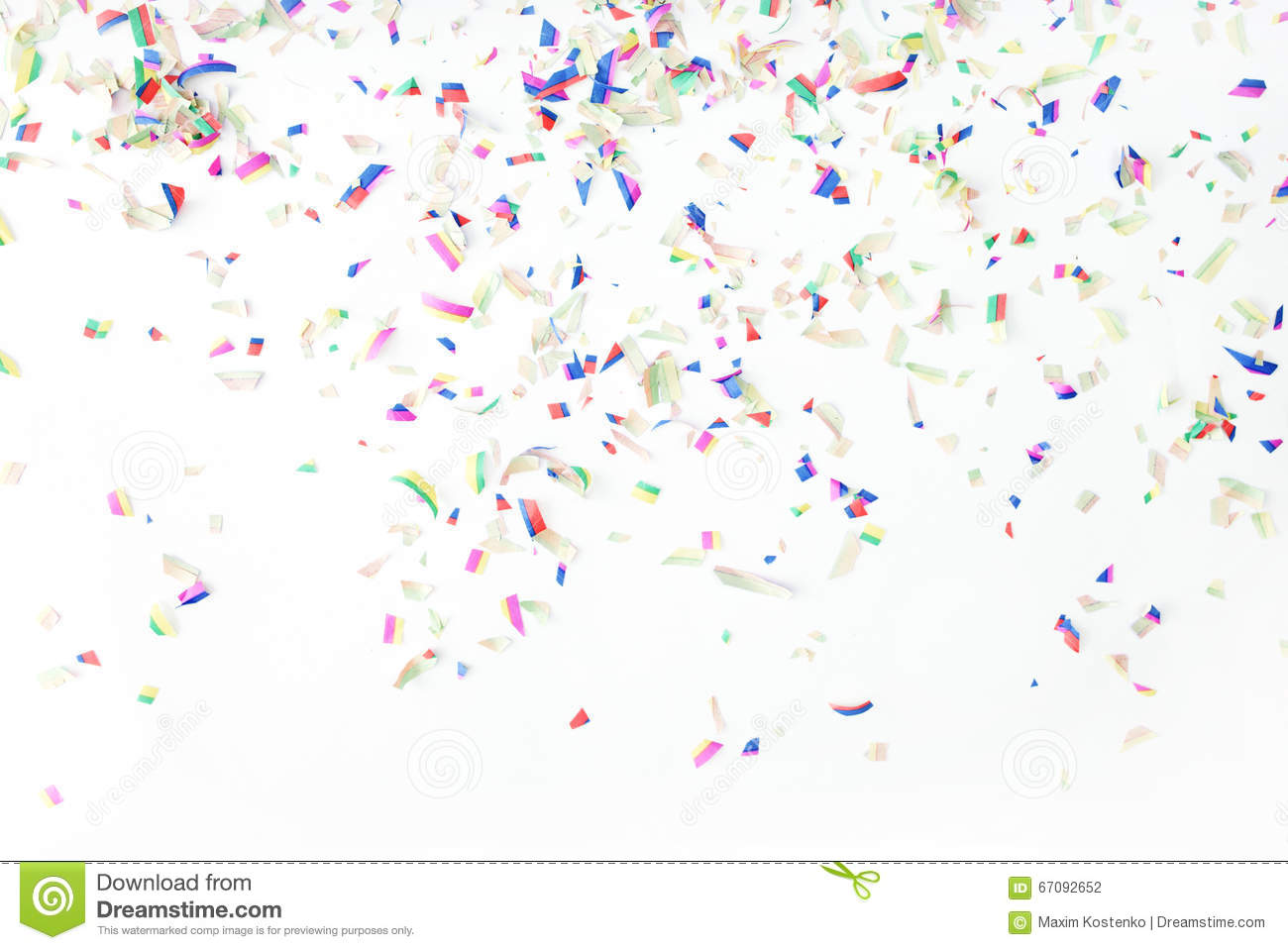 colorful confetti on white background holiday or party background colorful confetti on white background holiday or party background
