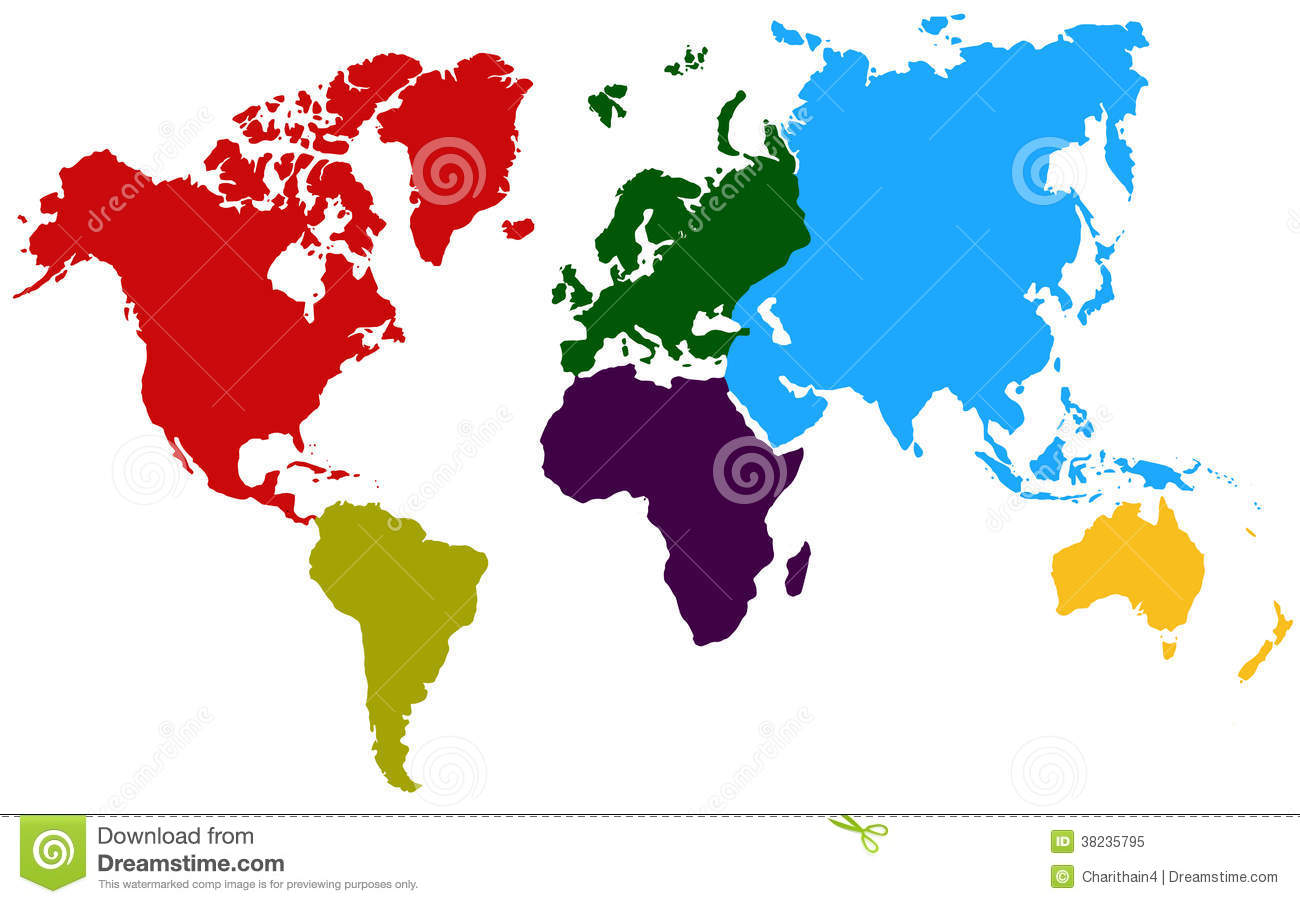 Colorful Continents World Map Stock Illustration Illustration Of