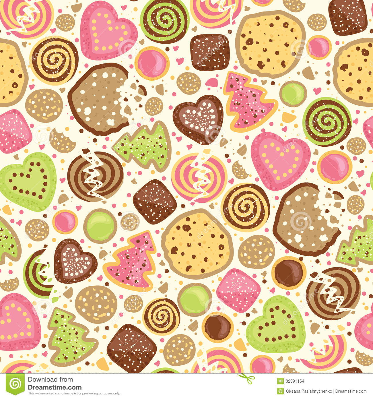 Colorful Cookies Seamless Pattern Background Stock Images