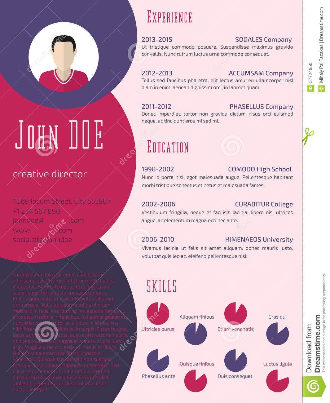 Colorful Cool Resume Cv Template Stock Illustration Image 57724950