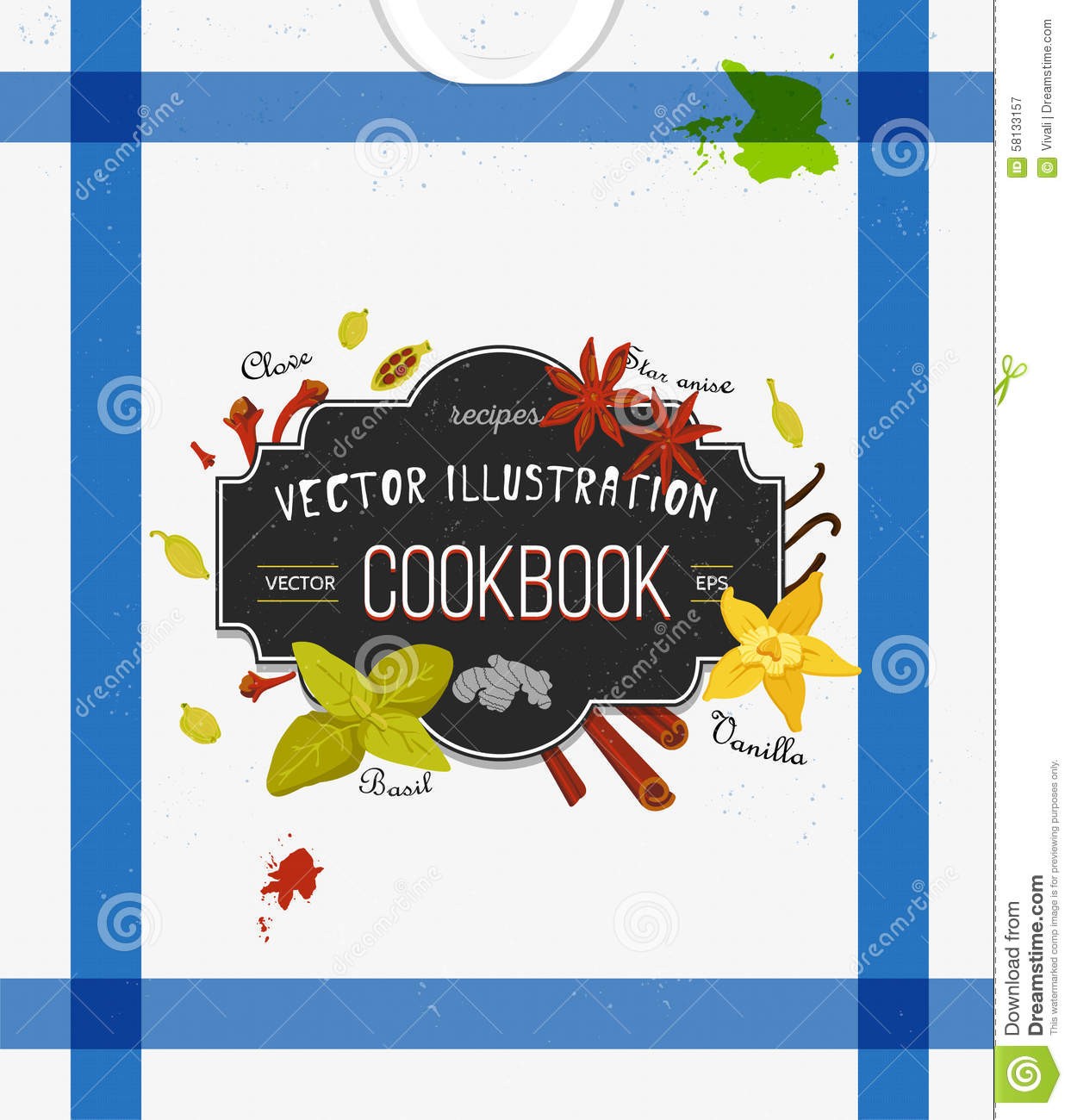 Cookbook Cover Vector ~ Colorful cover for cookbook notebook with spices stock