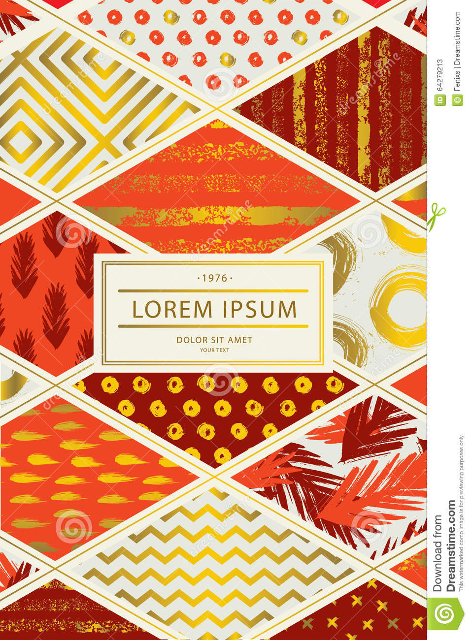 Patchwork Book Cover Pattern : Colorful cover in patchwork style red shades with gold