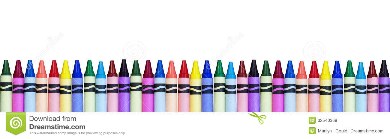 row of colorful crayons isolated on white background, a concept for ...