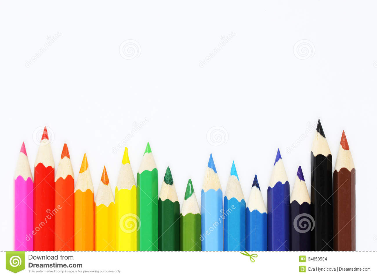 Colorful Crayons In A Row On White Background Stock Photo ...