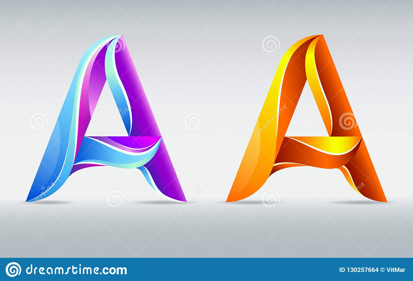 Colorful Creative Letter A  Abstract 3D Font  Caramel And
