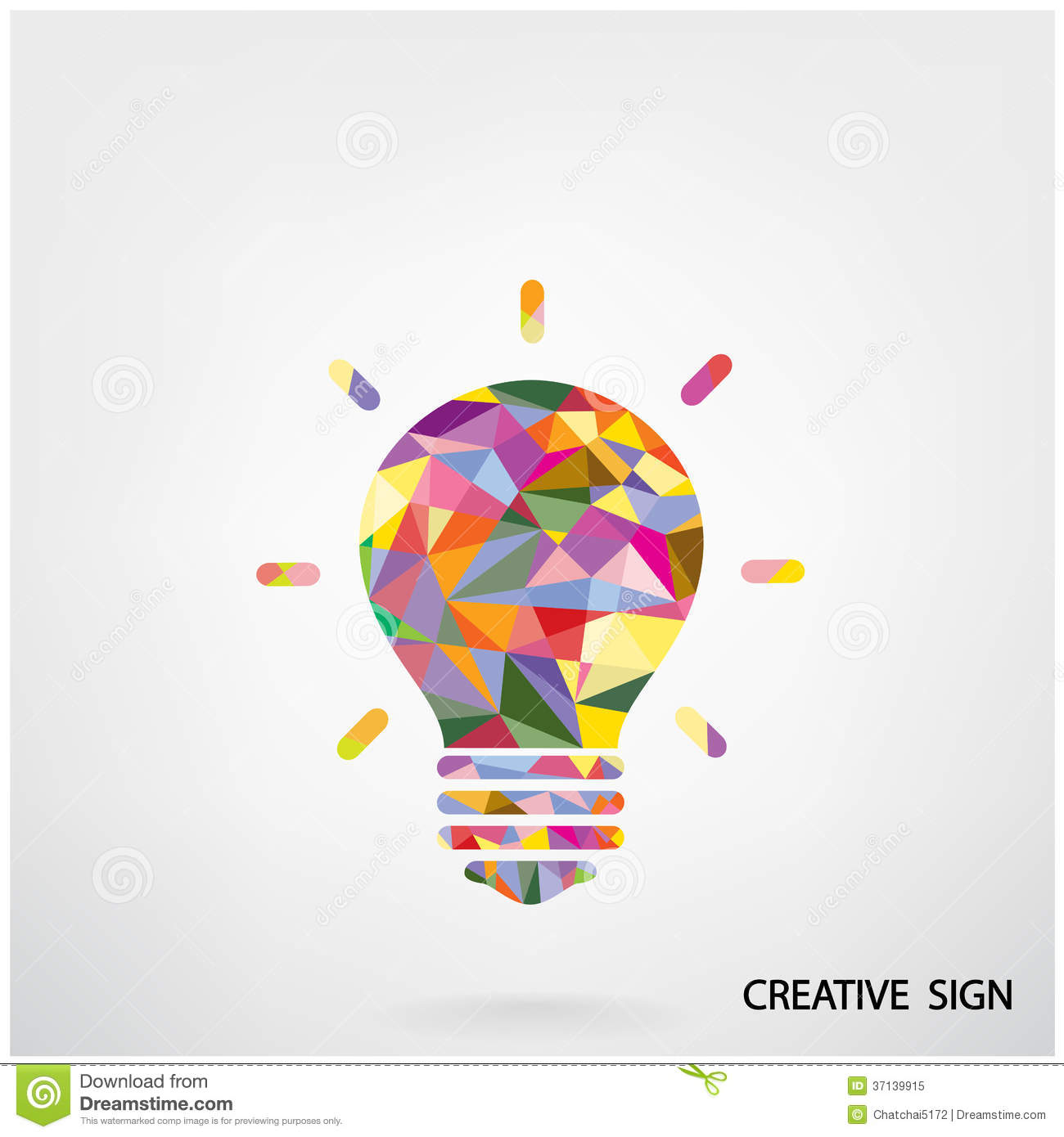 Colorful Creative Light Bulb Sign Royalty Free Stock Photo ...