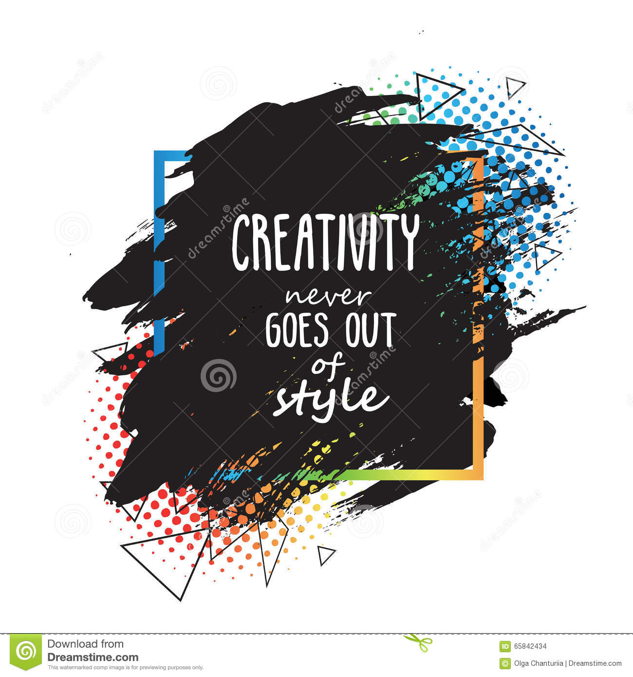 Colorful Creative Quote Template. Hand Painted Print Design. Stock ...