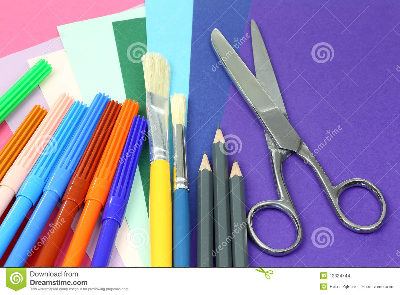 colorful creative tools and paper stock images image