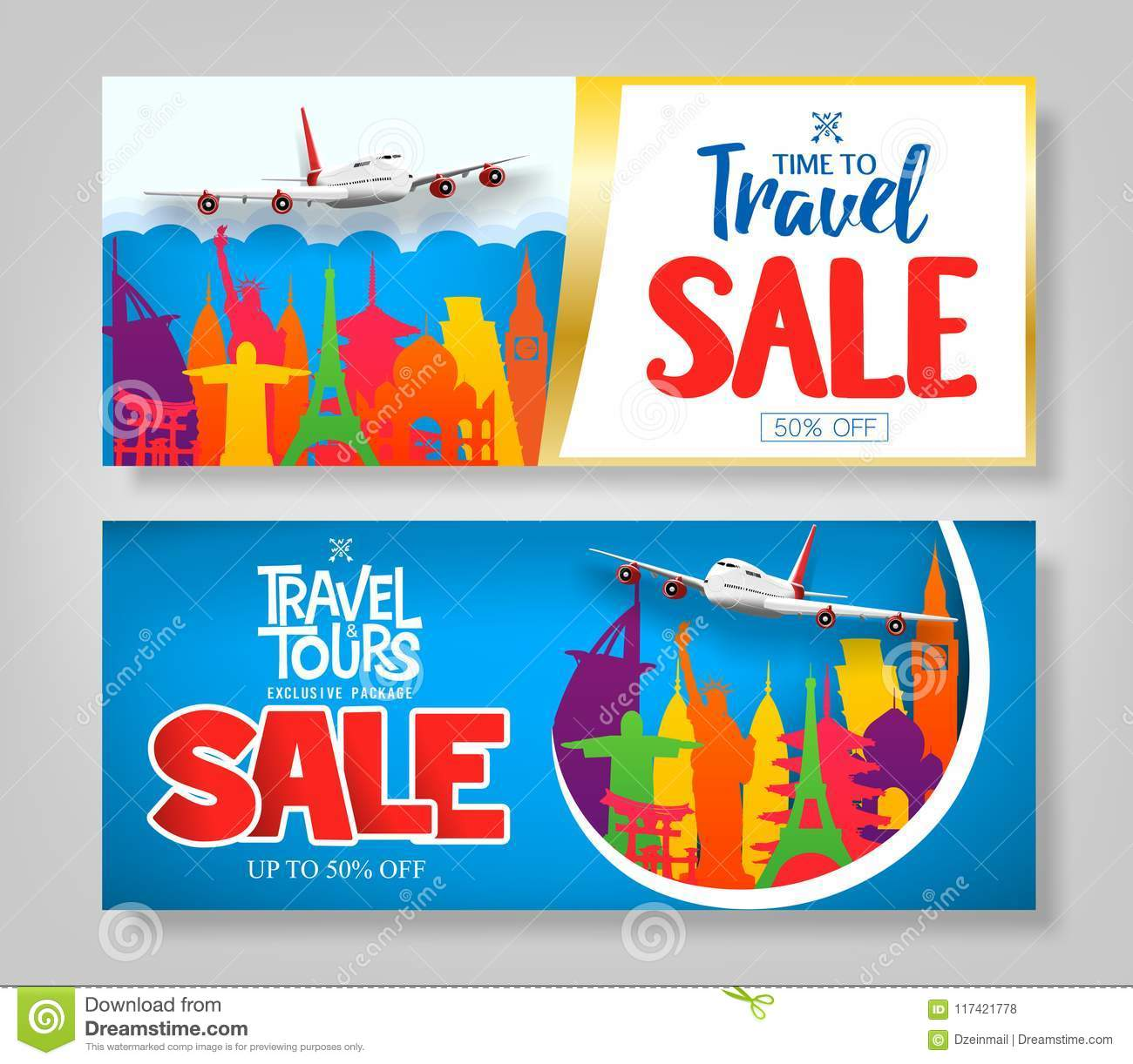 Download Colorful Creative Travel Sale Banner Set With Famous Landmark Stock Vector