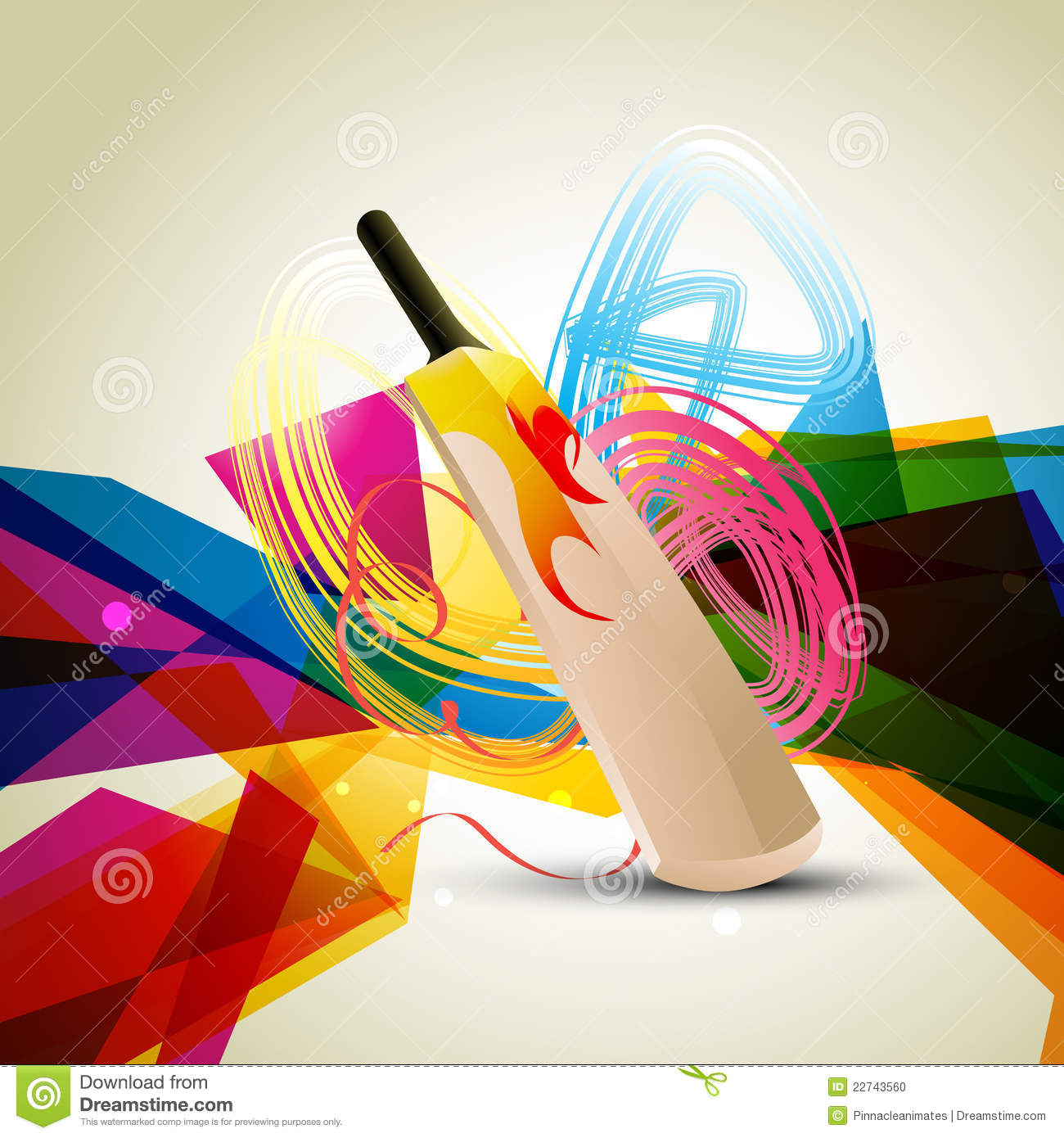 Colorful Cricket Background Stock Vector Illustration Of Strike