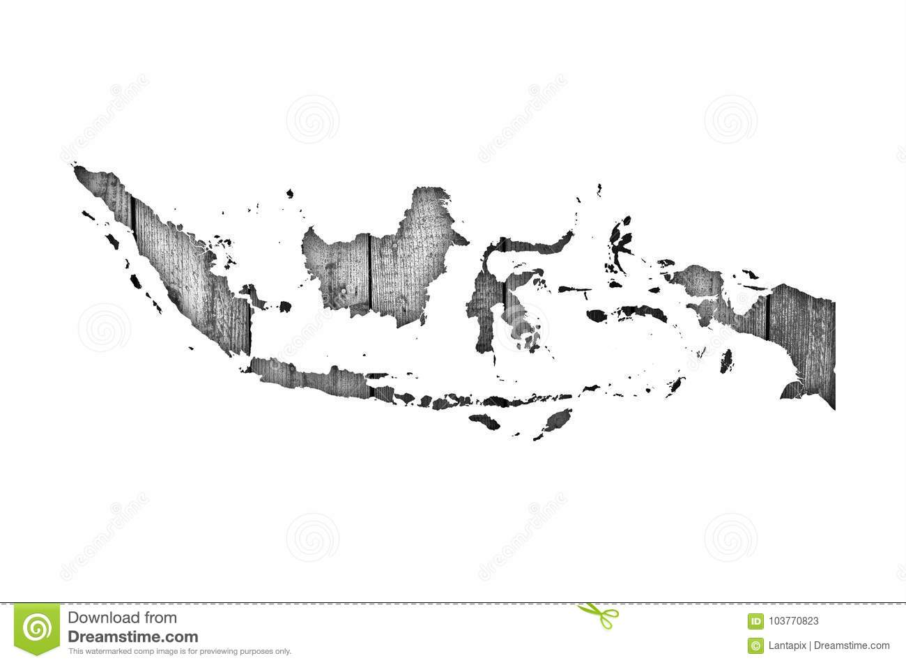 Map of Indonesia on weathered wood