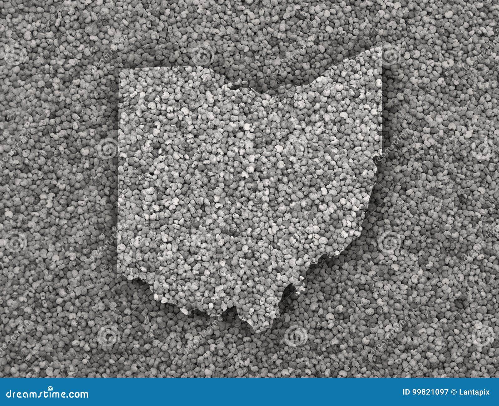 Map of Ohio on poppy seeds