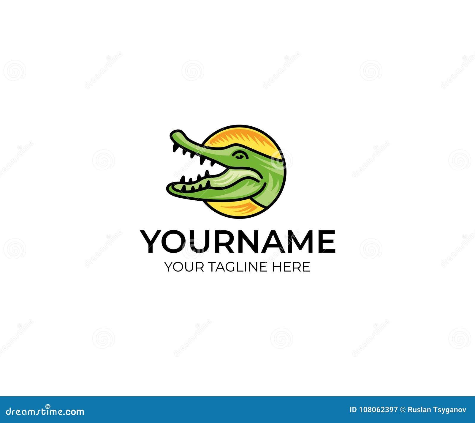 colorful crocodile logo template alligator vector design stock