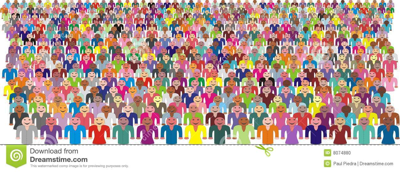 Colorful Crowd Of People Vector Stock Photo - Image: 8074880
