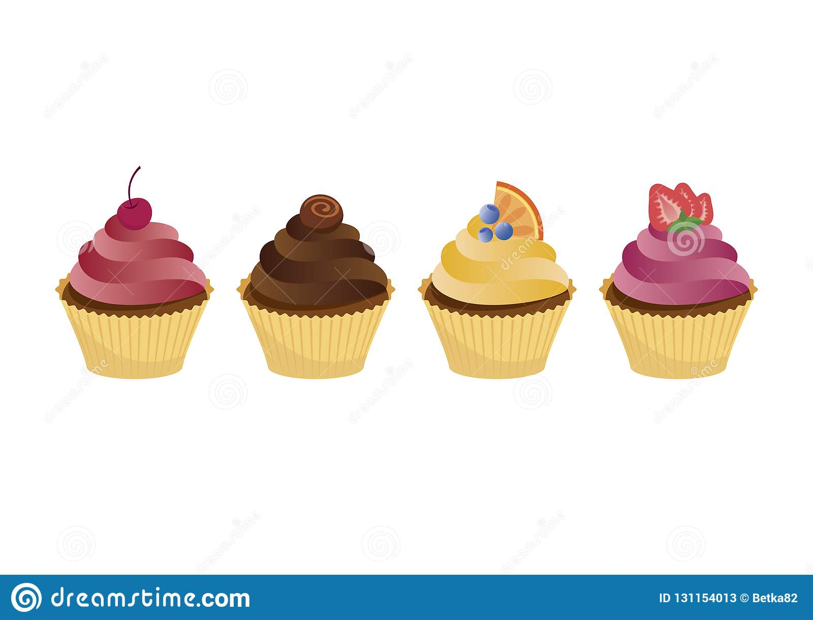 Colorful Cupcakes Icon Set Vector