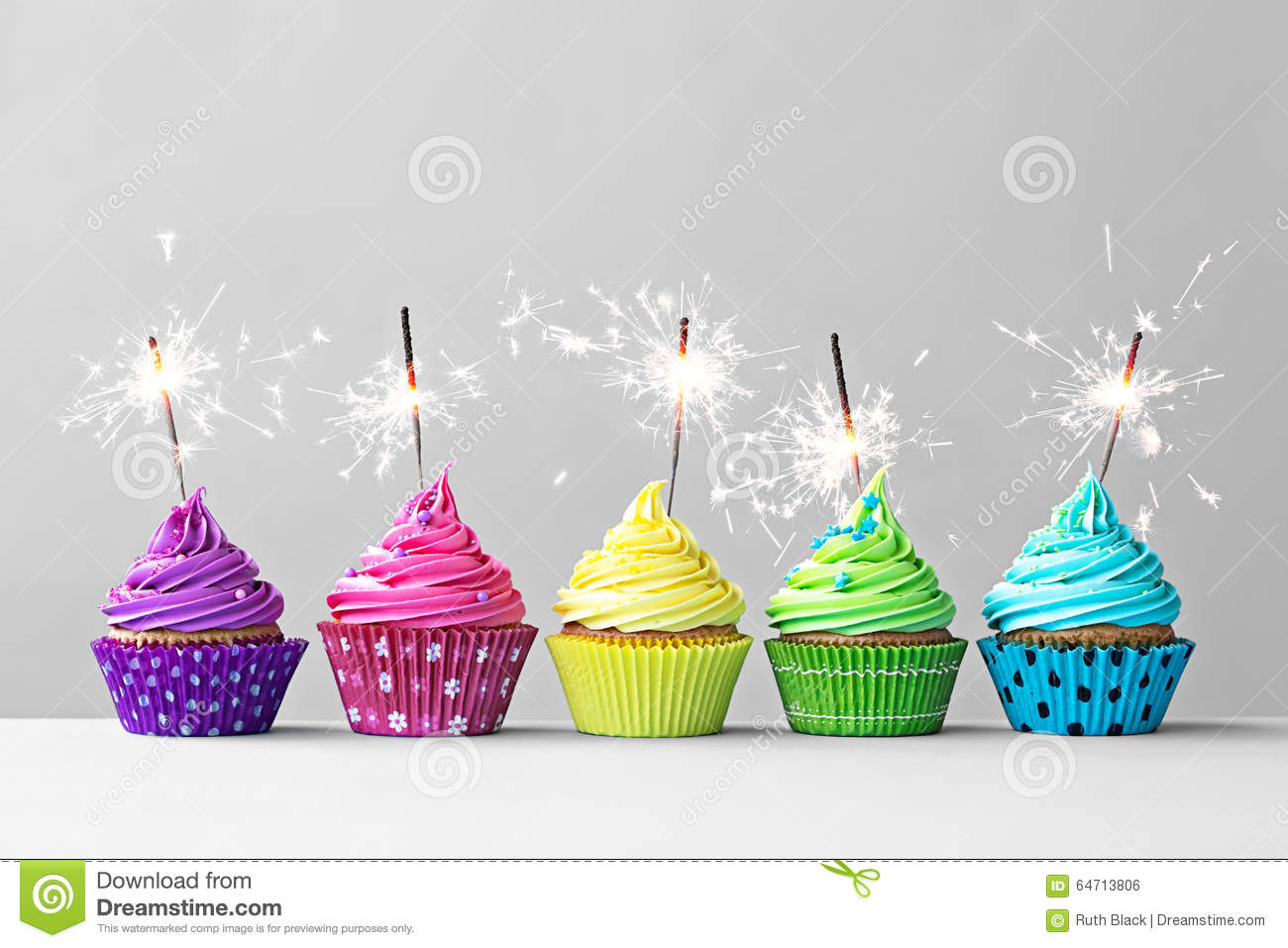 Colorful Cupcakes With Sparklers Stock Photo Image Of