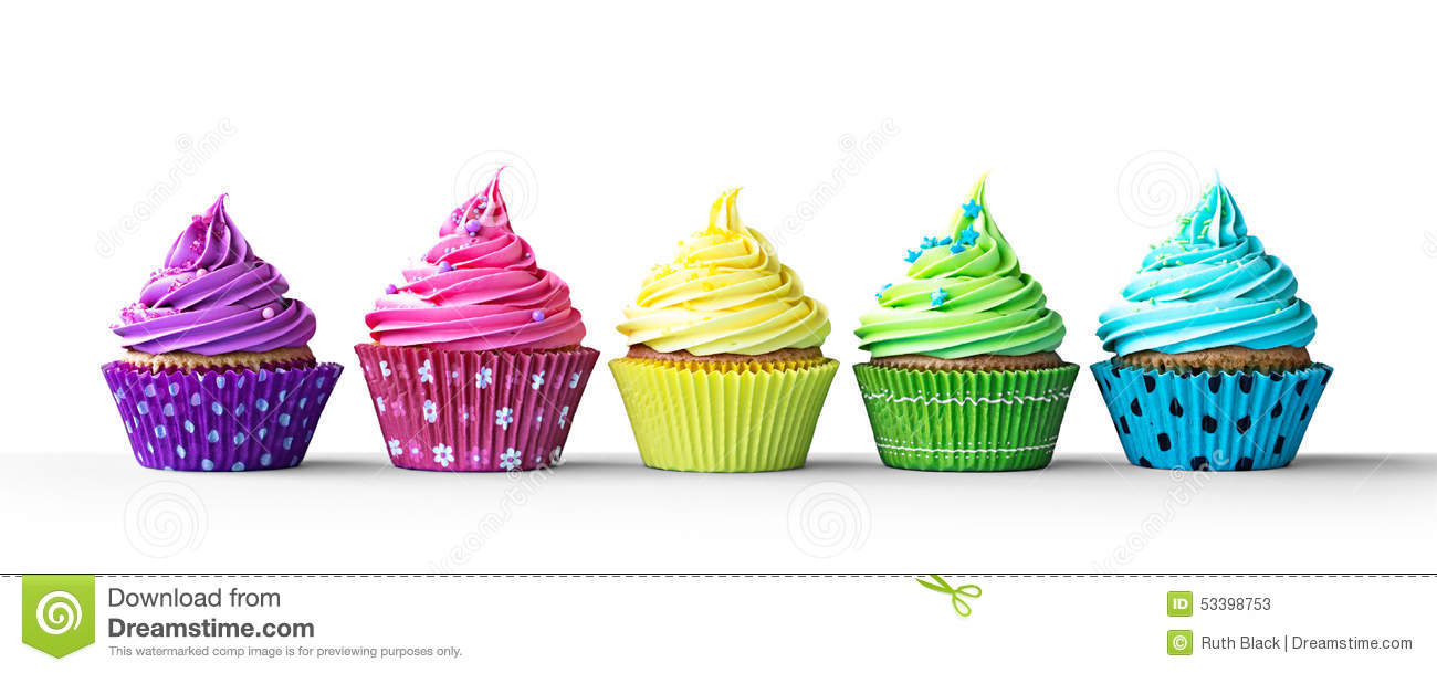 colorful cupcakes on white stock photo image 53398753 cupcake clipart black and white png cute cupcake clipart black and white
