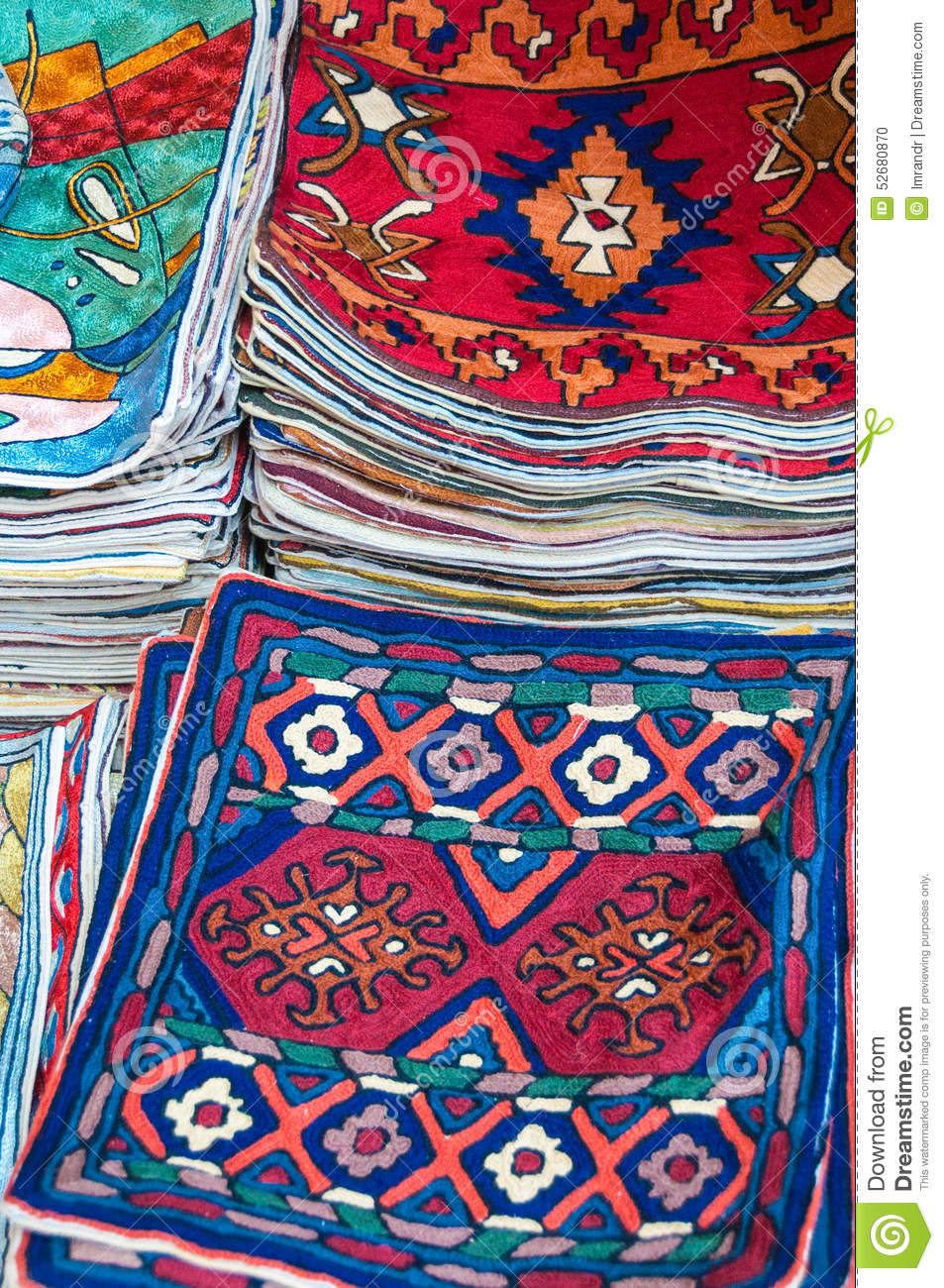 Colorful Cushion Covers On Sale In A Shop Muttrah Souk, In