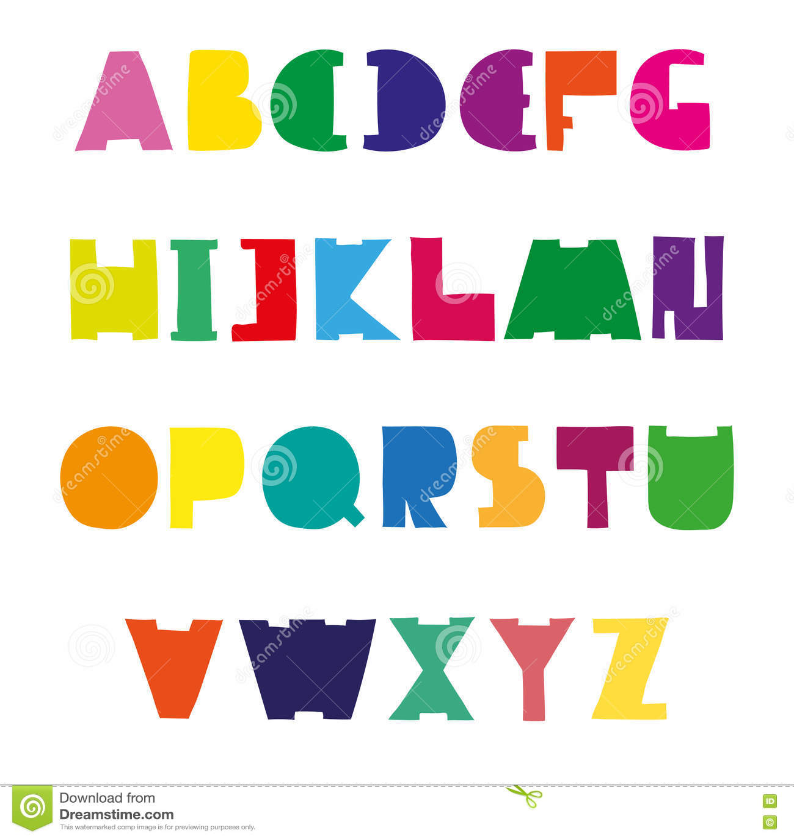 colorful cute alphabet design hand drawn font