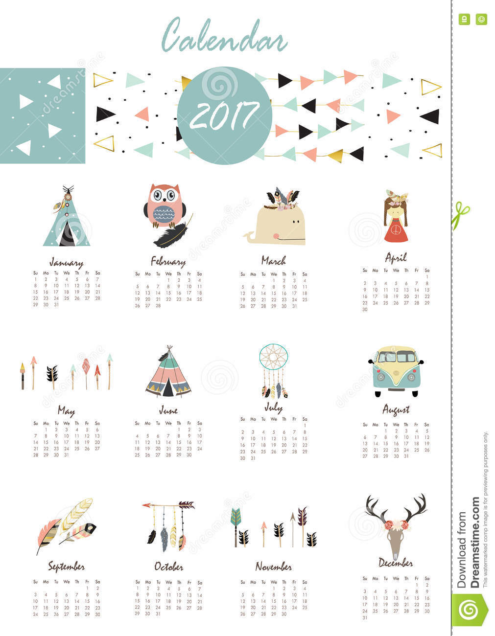 colorful cute monthly calendar 2017 with tent whale feather arro
