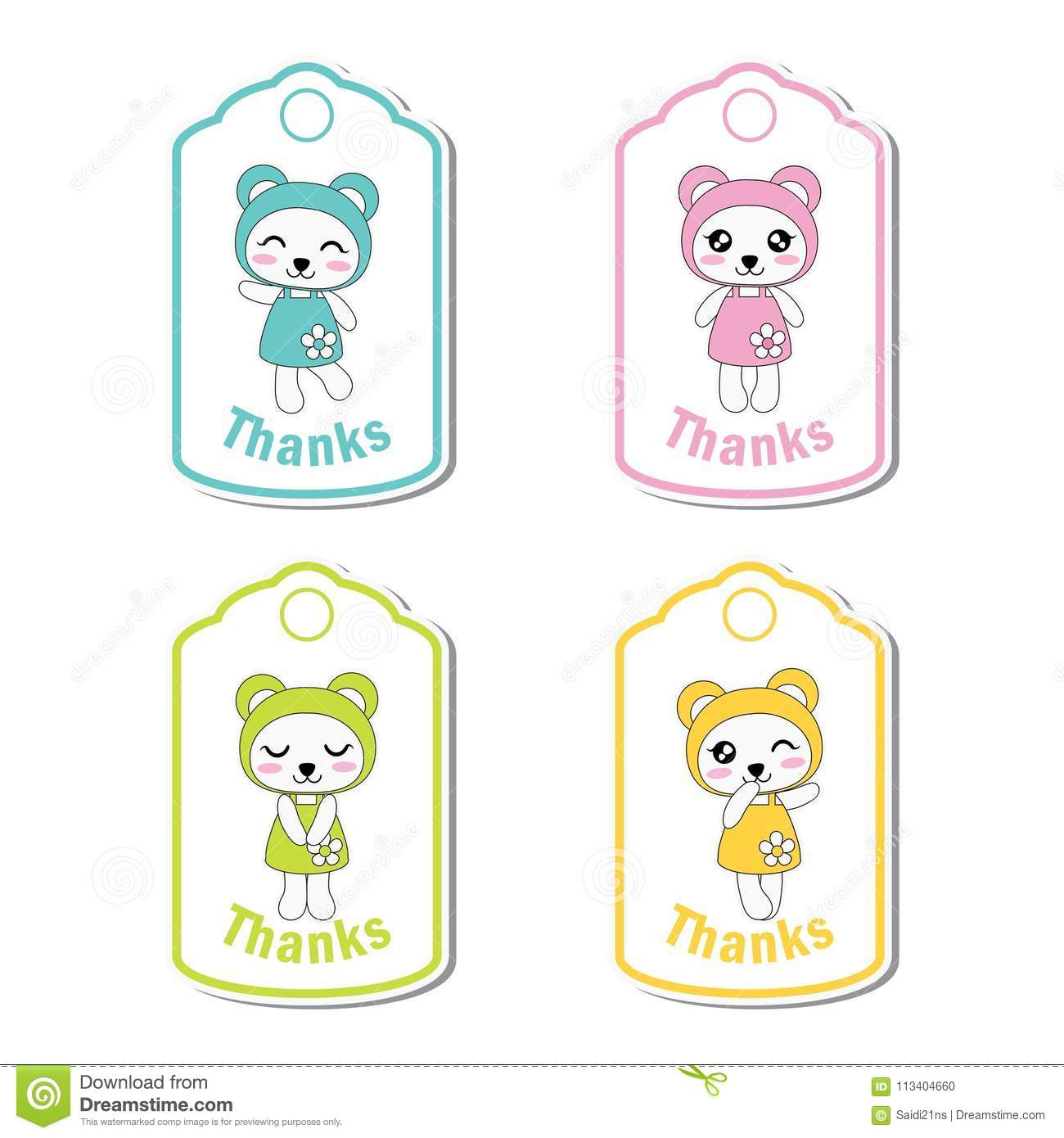 Colorful Cute Panda Girls Suitable For Kid Birthday Gift Tag