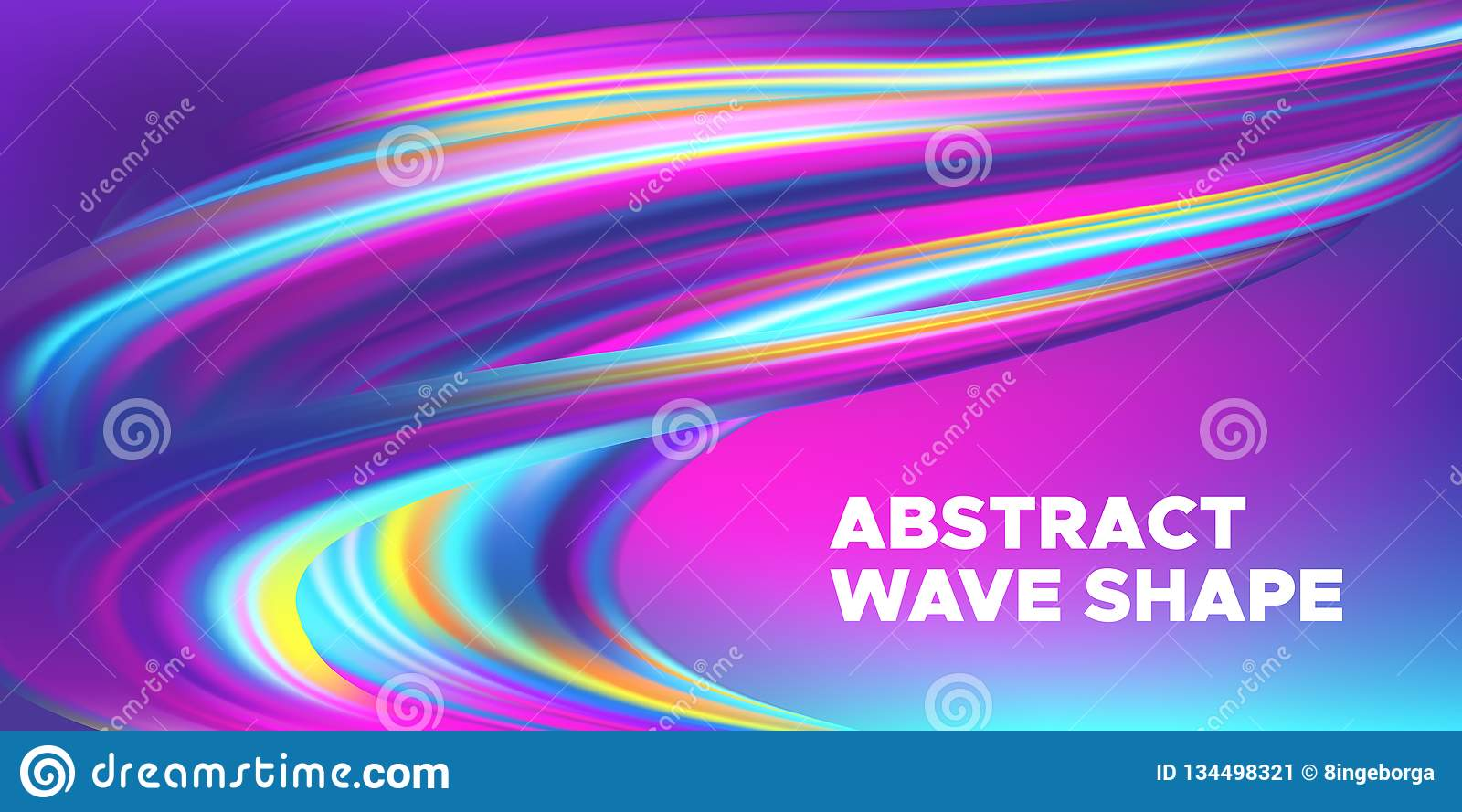 Colorful 3d Abstract Wave Banner.
