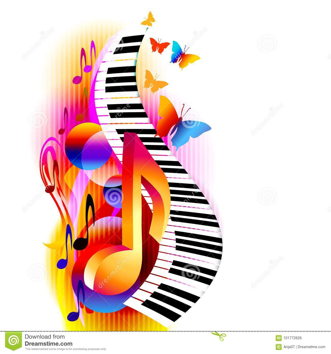 colorful 3d music notes with piano keyboard and butterfly