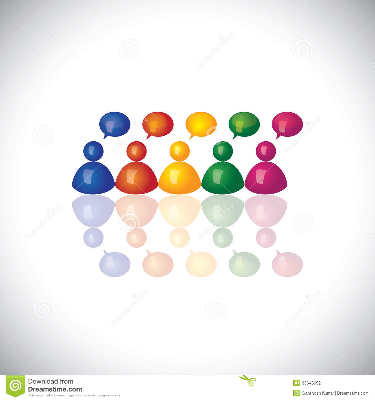 Colorful 3d Office Staff Or Employees Icons Talking amp; Chatting Stock
