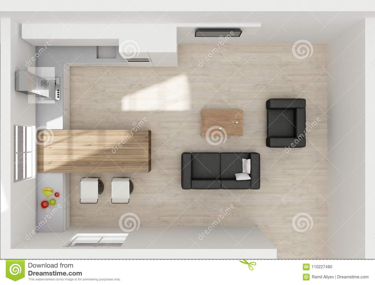 Kitchen Interior 3d Rendering Top View Stock Illustration