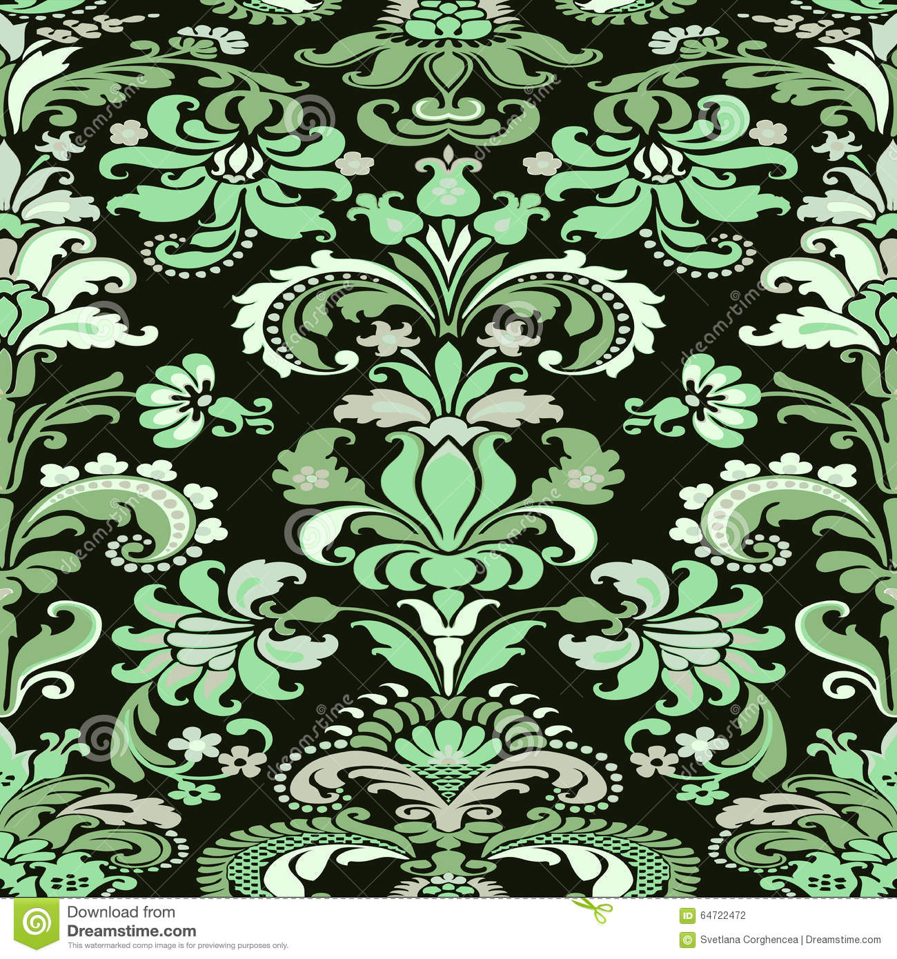 Colorful Damask Seamless Floral Pattern Background Stock
