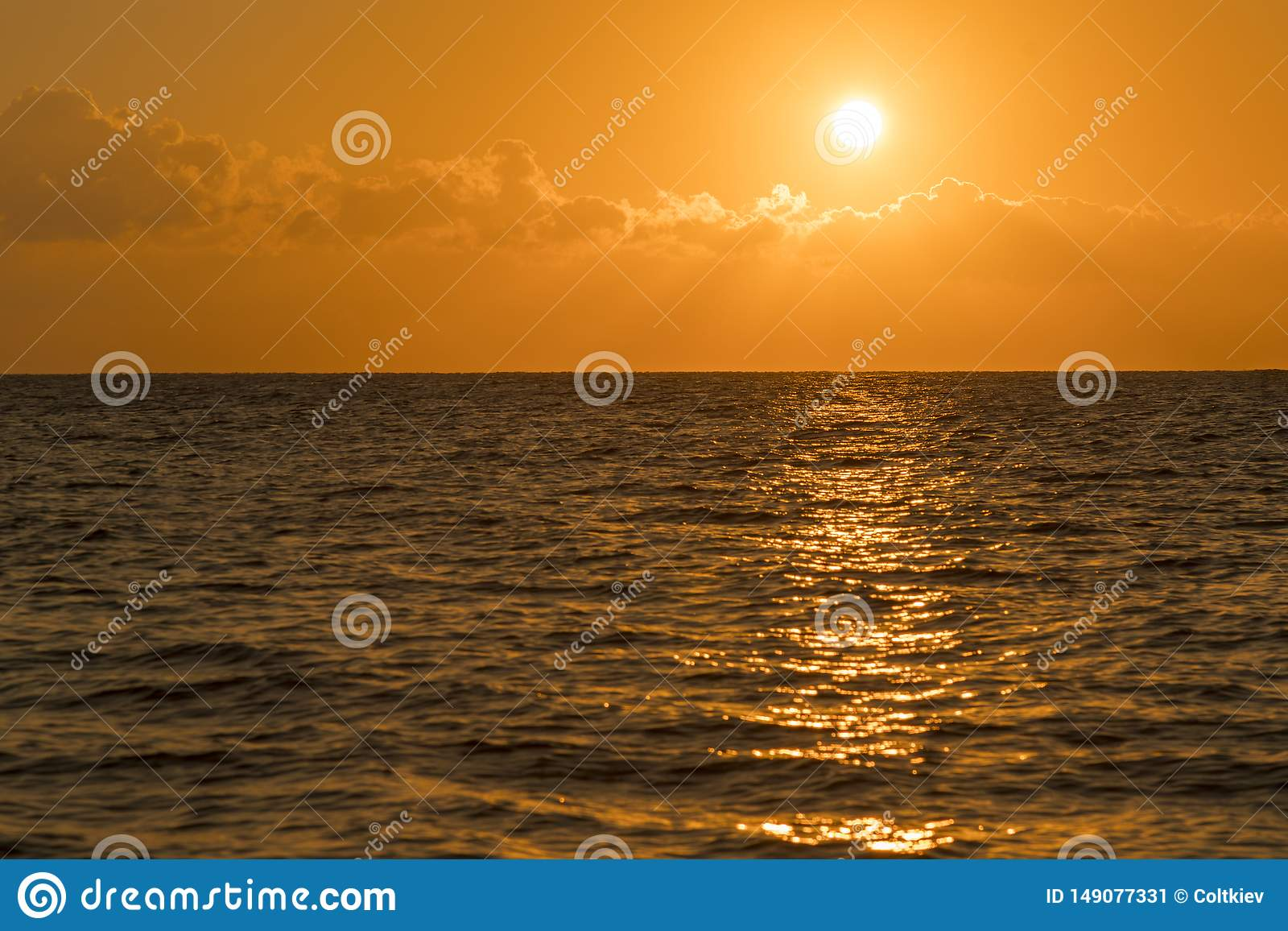 Colorful dawn over the sea, Sunset. Beautiful magic sunset over the sea. Beautiful sunset over the ocean. Sunset over