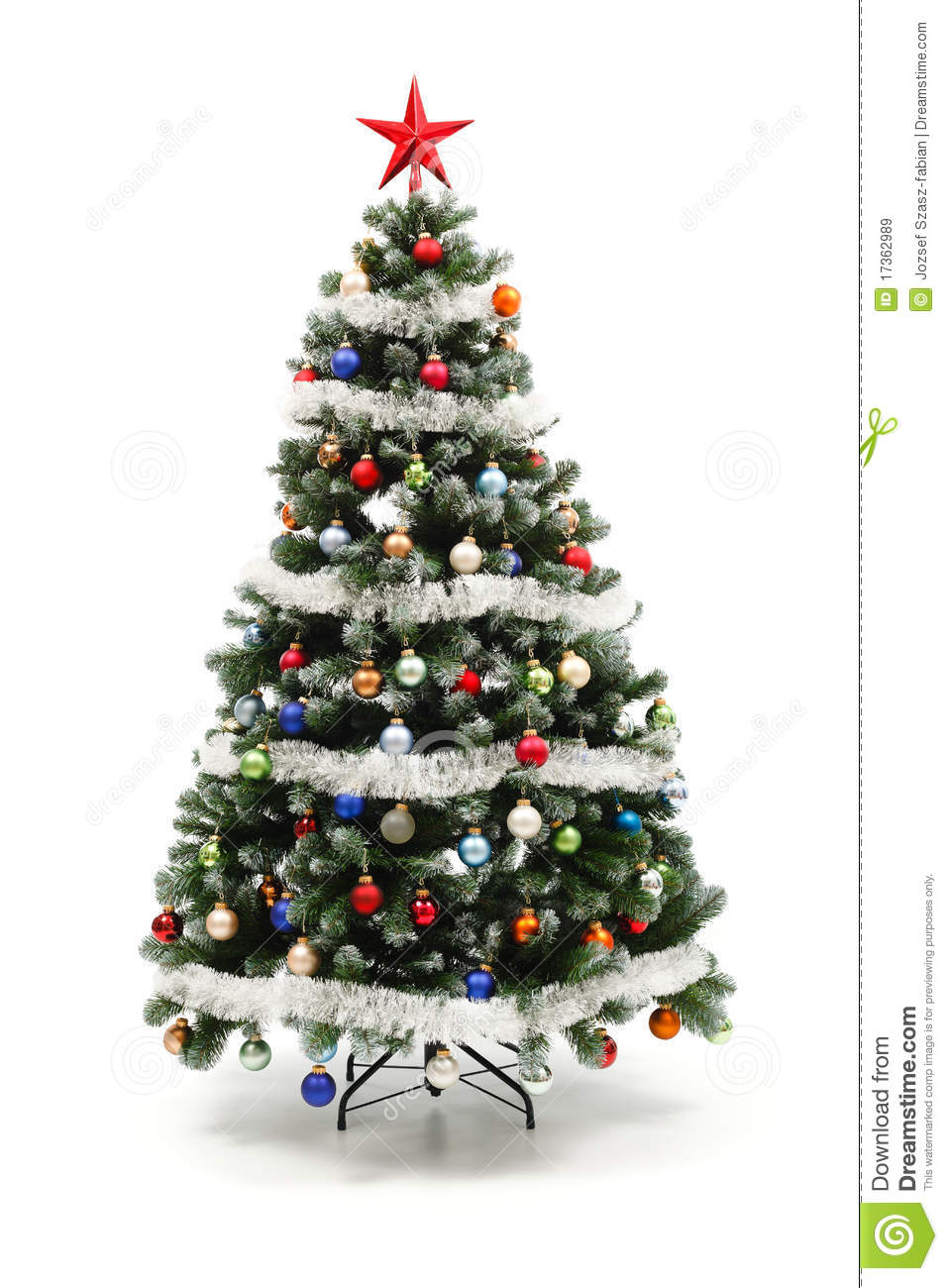 Colorful decorated artificial christmas tree royalty free for Artificial christmas decoration tree