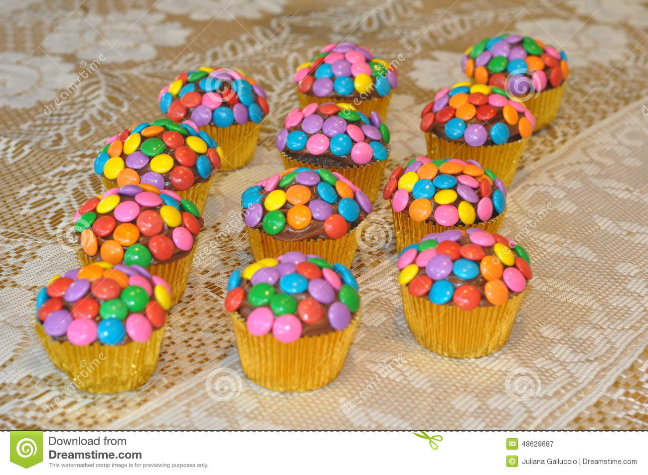 Colorful Decorated Cupcakes Stock Image Image 48629687