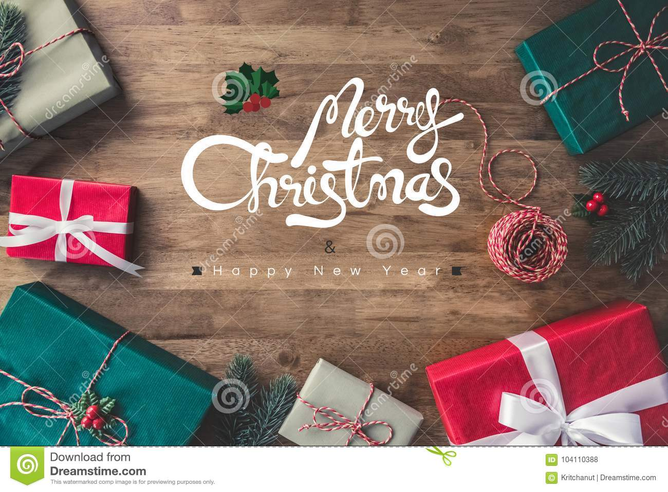 Merry christmas and happy new year greeting text on a wooden table merry christmas and happy new year greeting text on a wooden table m4hsunfo