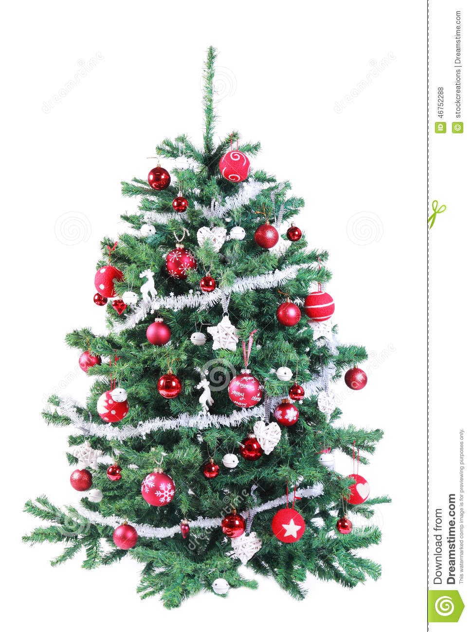 Colorful Decorated Red And Silver Christmas Tree Stock ...