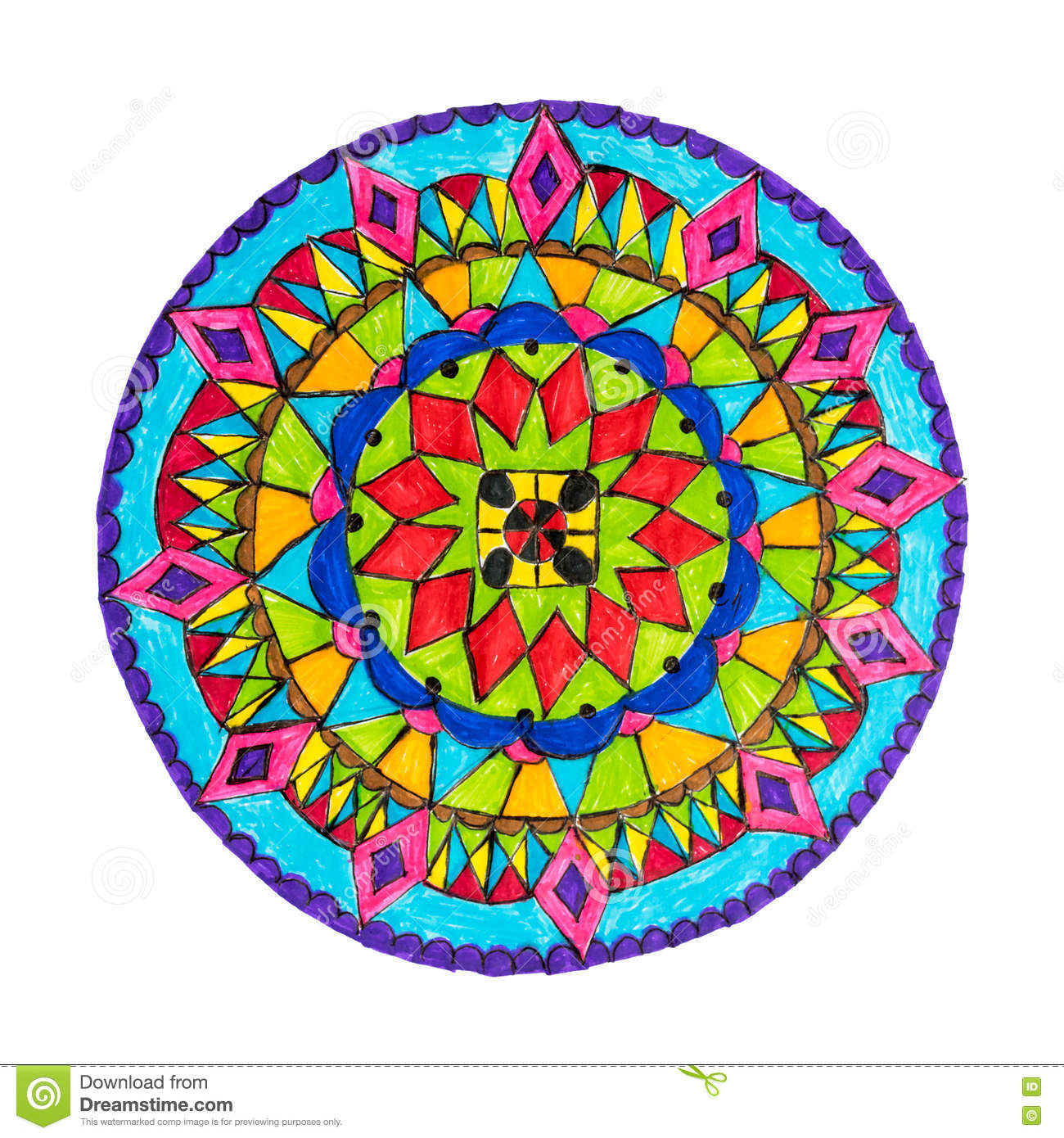 Colorful decorative hand drawn mandala pattern