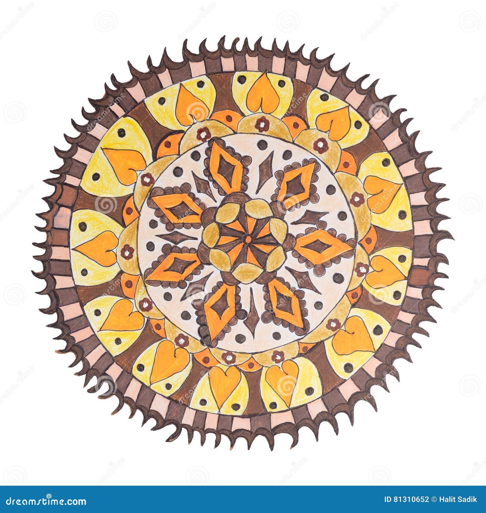 Colorful decorative hand drawn mandala pattern
