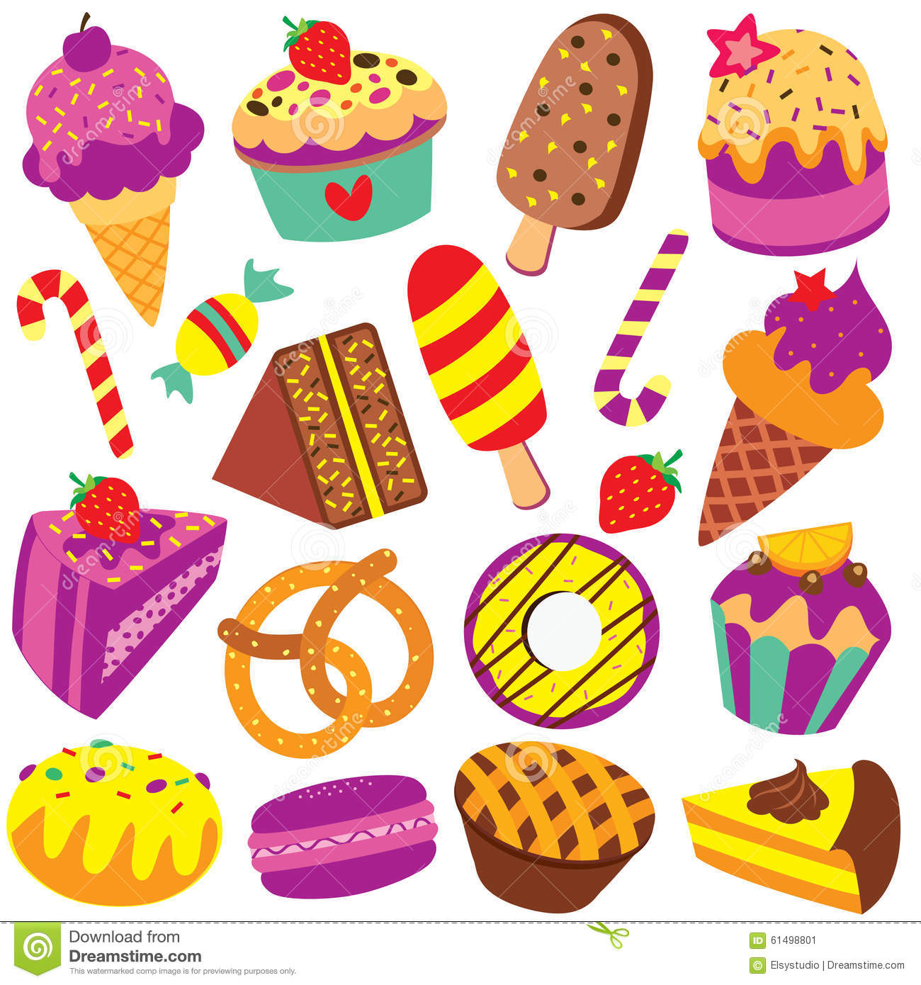 Colorful Desserts Clip Art Set Stock Vector - Illustration ...