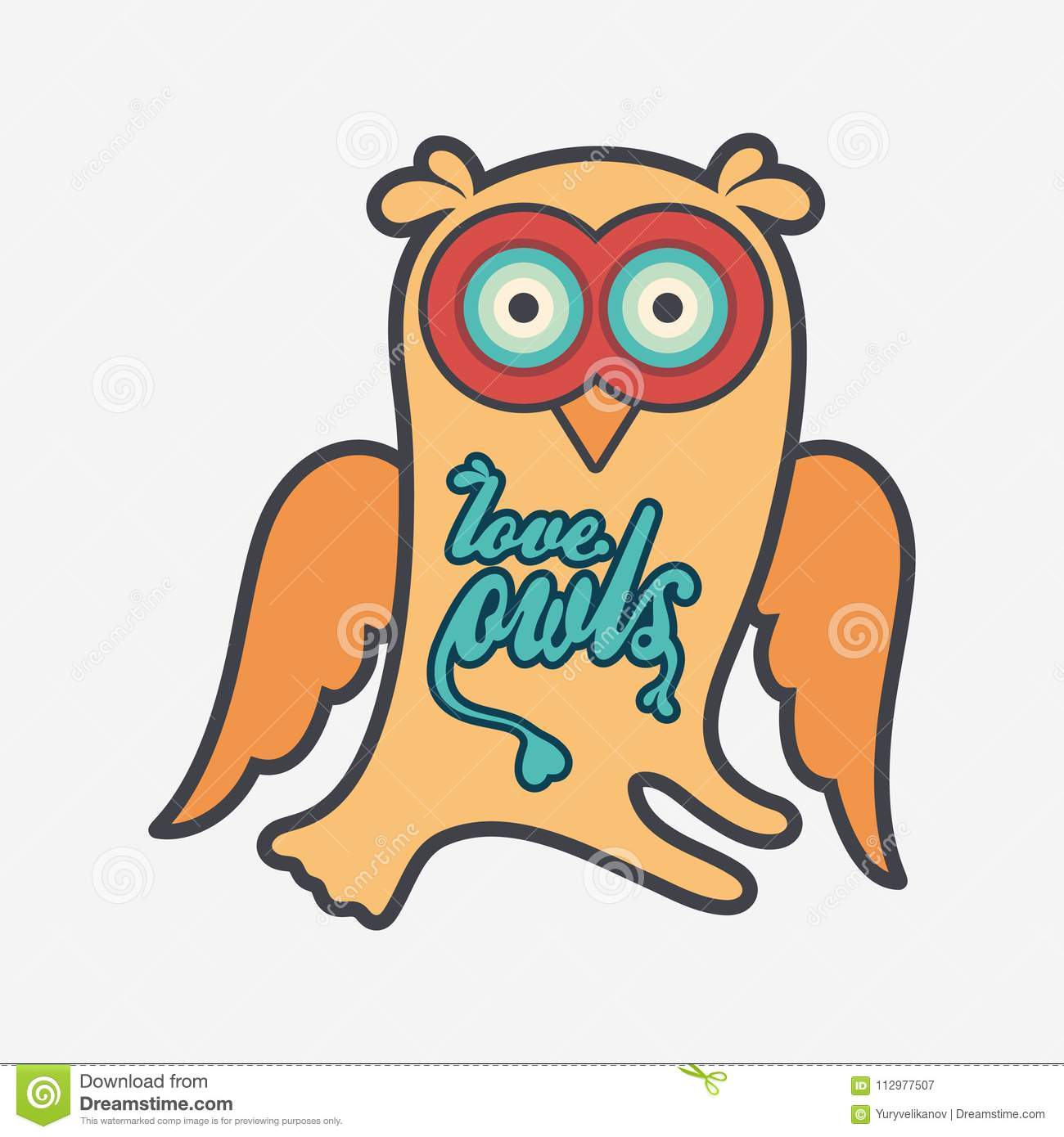 Owl flat color line icon on light background.