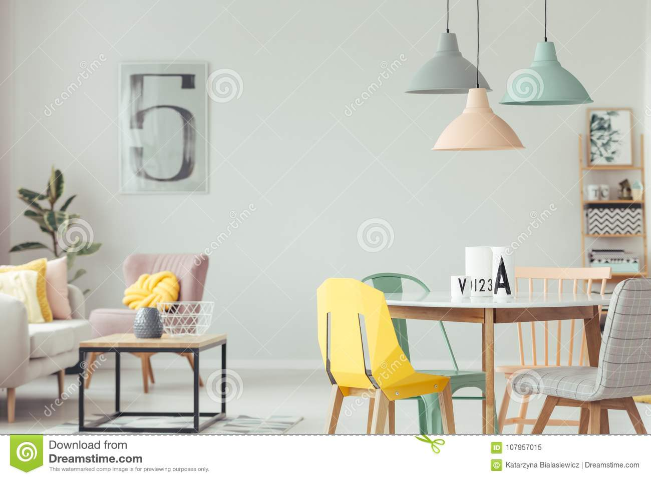 Colorful Dining Room Interior Stock Image - Image of ...
