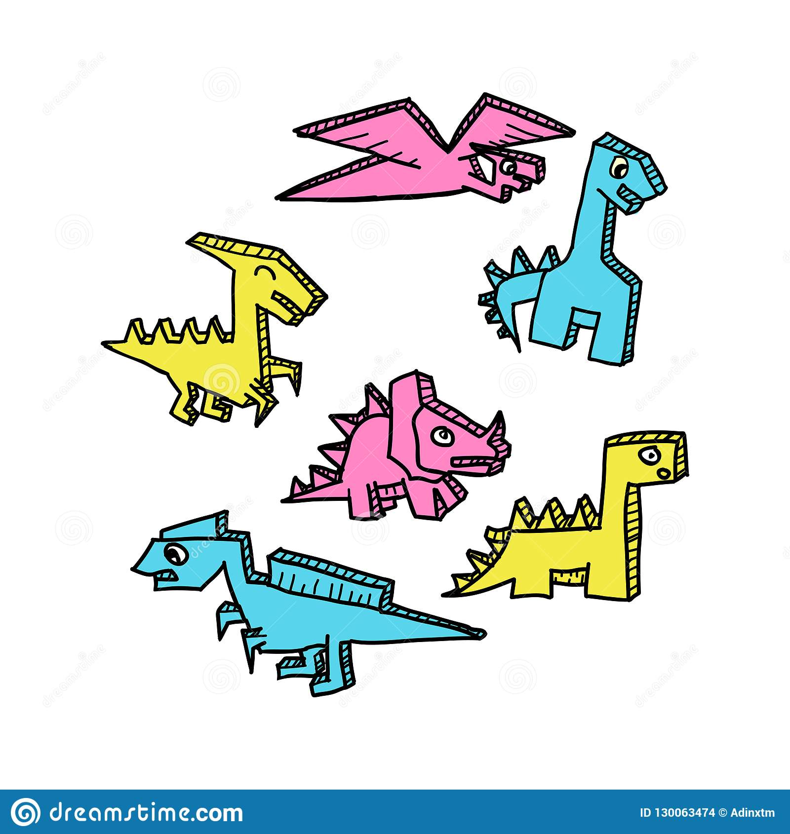 Colorful Dino drawing 3d style set vector illustration.