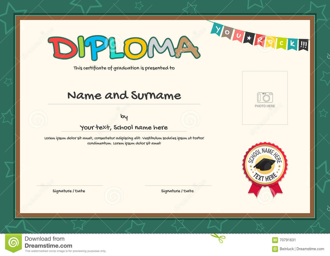 Colorful Diploma Certificate Template For Kids In Vector – Certificate Template for Kids