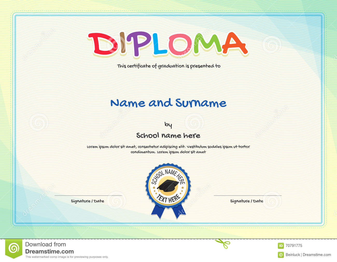 Colorful Diploma Certificate Template For Kids Stock Vector