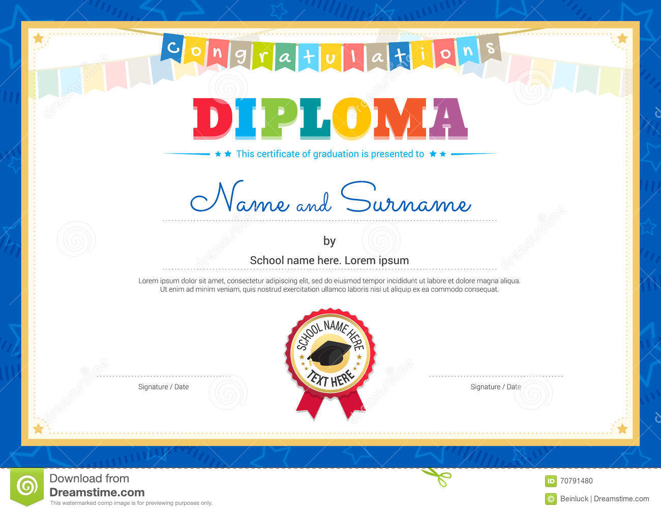 Vector template kids diploma at graduation vector for Diplomas and certificates templates