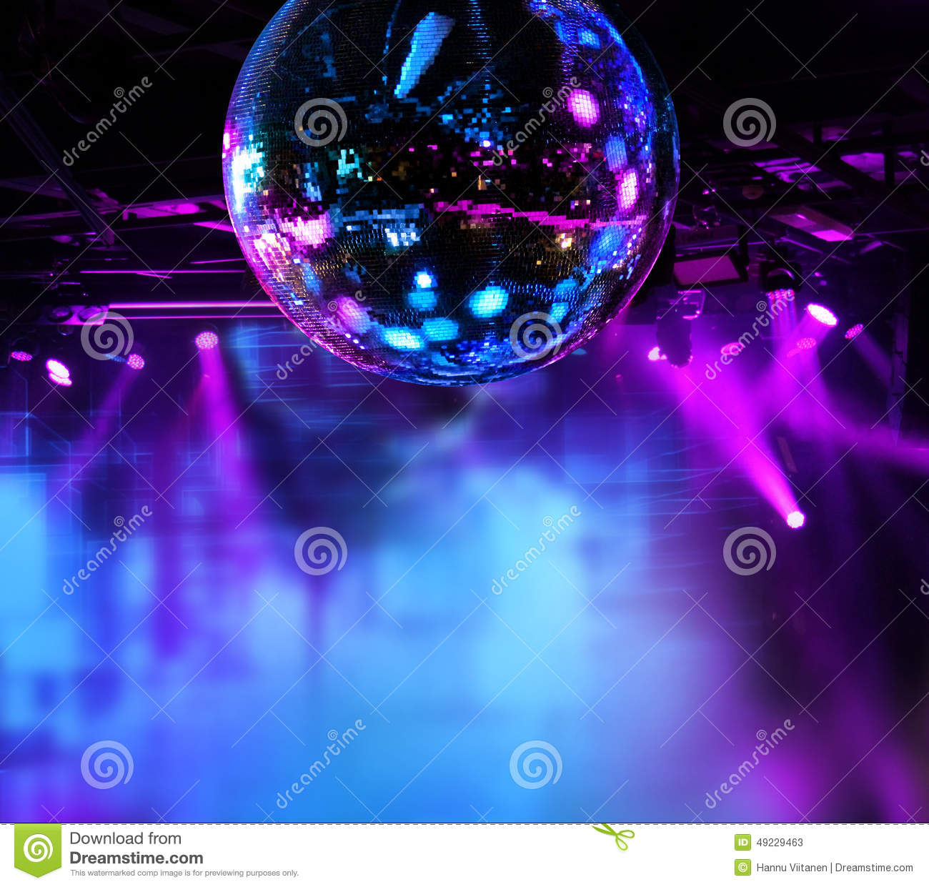 Colorful Disco Mirror Ball Lights Stock Image Image Of