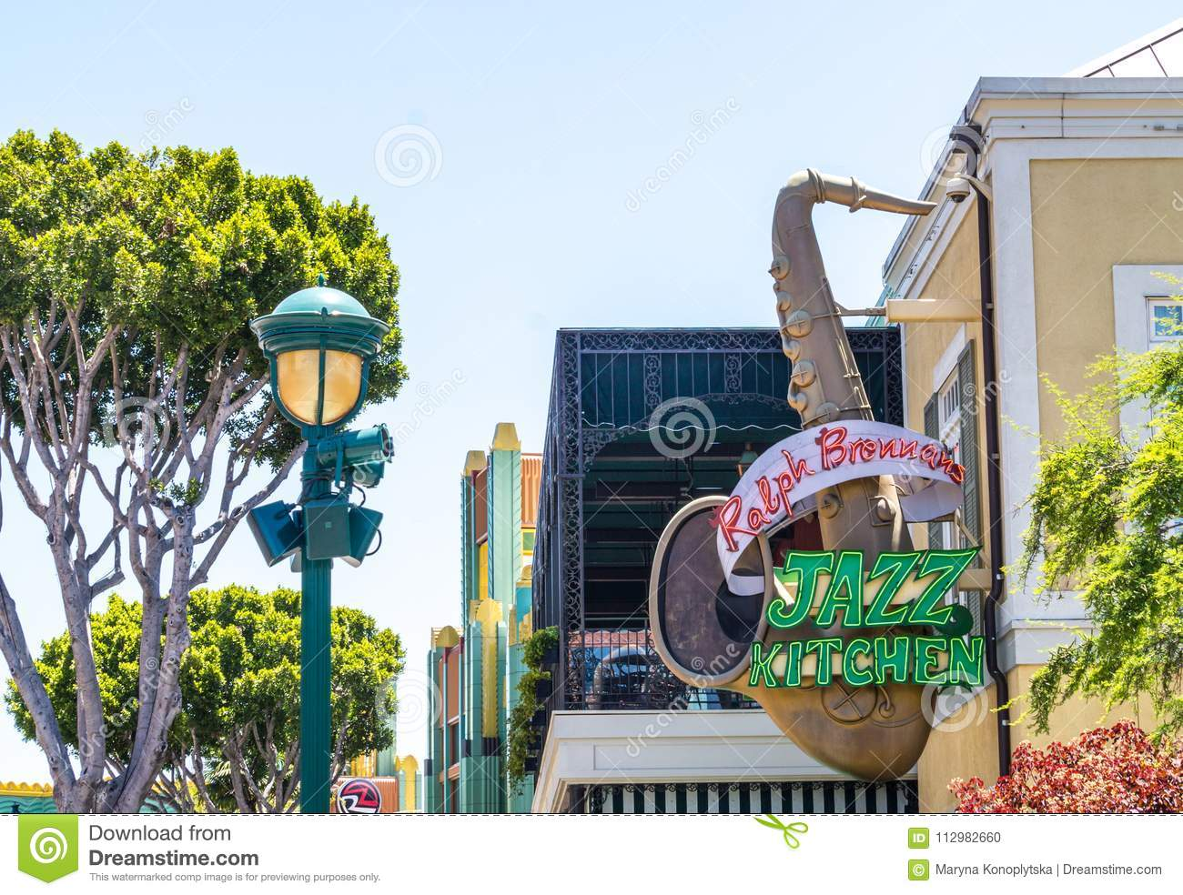 Colorful Disneyland architecture in Anaheim, Los Angeles, California, USA