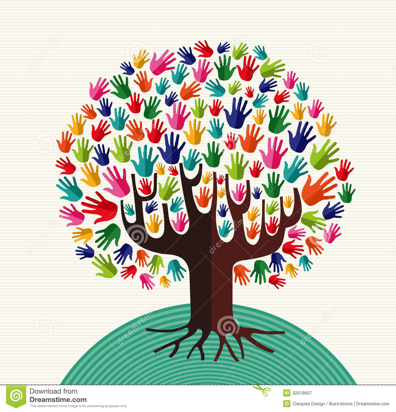 Colorful Diversity Tree Hands Royalty Free Stock