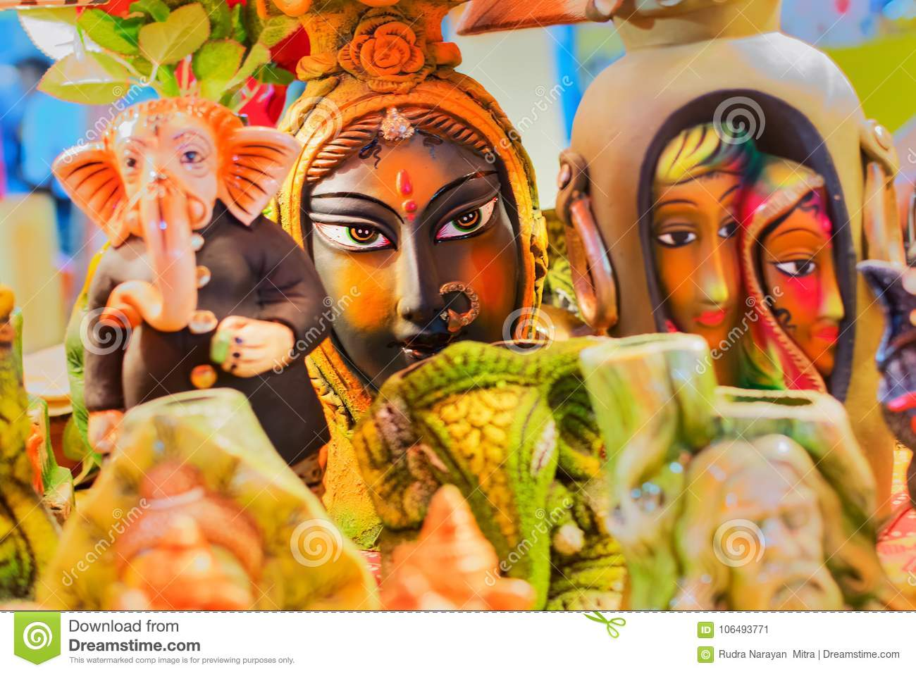 Colorful Dolls Made Of Clay Handicrafts On Display Stock Image