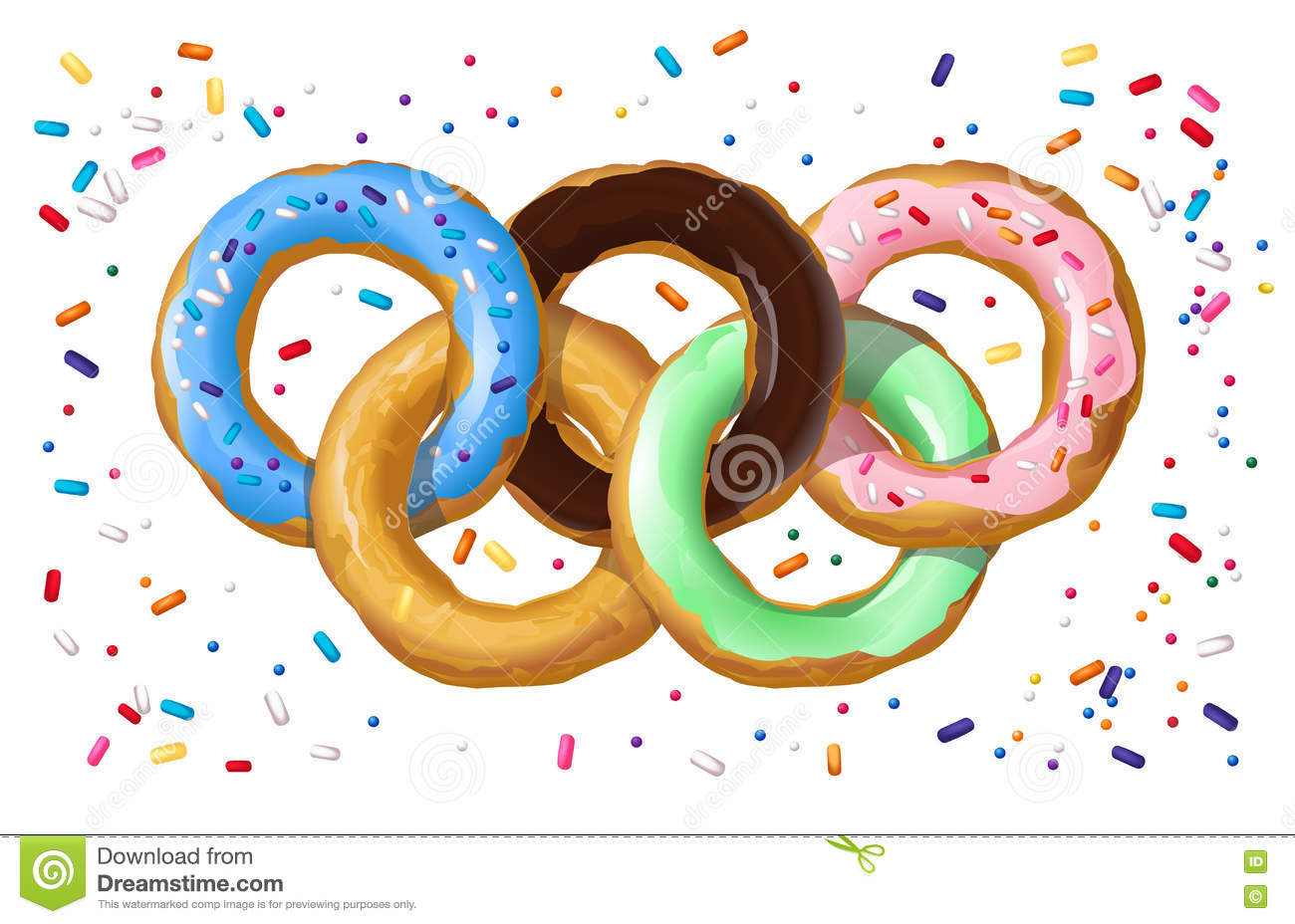 Colorful Donuts In The Shape Of The Olympic Symbol Stock Vector ...