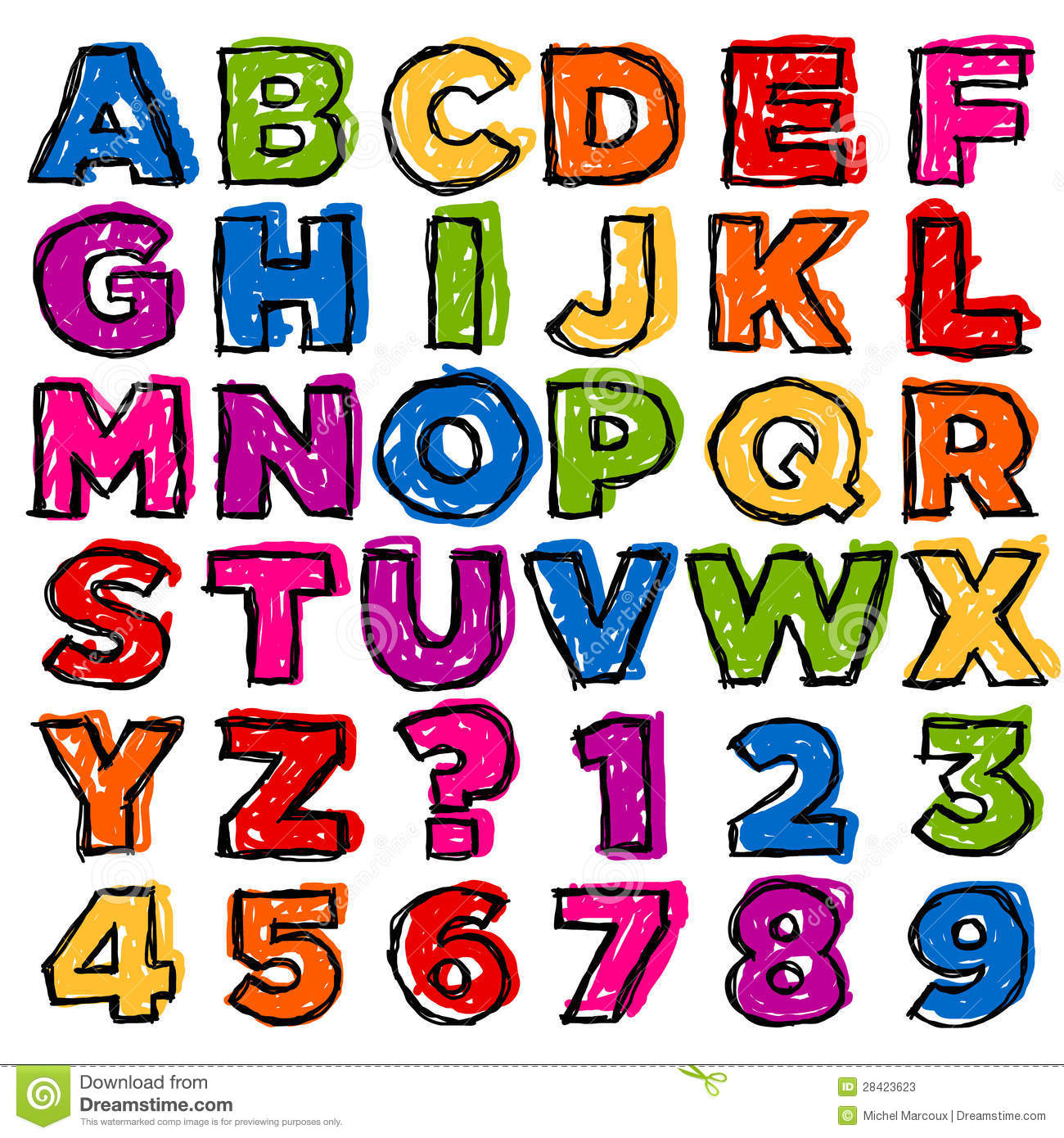 colorful doodle alphabet and numbers illustration 28423623 megapixl